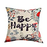 Ogiselestyle Unique Pillow Shams Beautiful Cotton Linen BE Happy Pattern Sofa Simple Home Decor Throw Pillow Case Cushion Cover 18x18