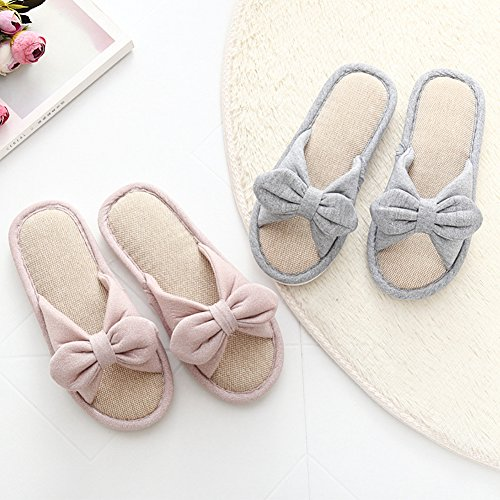 Open Grey Btrada Shoes Womens Toe House Indoor Slippers Soft Comfortable Cotton Slippers ZPxBPw6qY