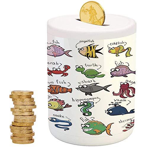 Nautical Decor for Kids,Piggy Bank,Christmas Birthday Gifts for Kids Boys Girls Home Decoration,Aquarium Cartoon Octopus Dolphin Shark Whale Clown Fish Jellyfish Crab Marine ()