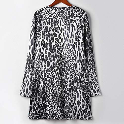 Gray Piumino Elegante Manica Fashion Donna Top Cappotto Lunga Leopard Nero T Print Giubbotto Lungo Invernale Tank Morwind Bllouse shirt Parka wfHp8q