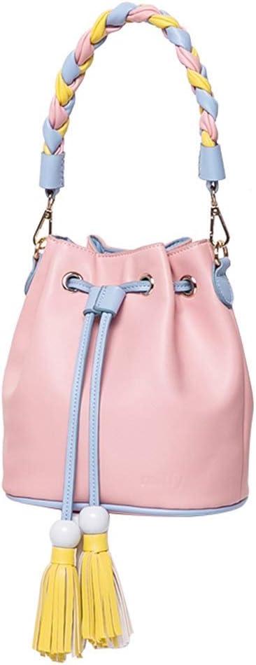 3 Colors Optional Simple and Small Fresh Mini Drawstring Tassel Large Capacity Single Shoulder Slung Casual Wild hit Color Bucket Bag Color : Pink Jian E Shoulder Bag PU//Polyester