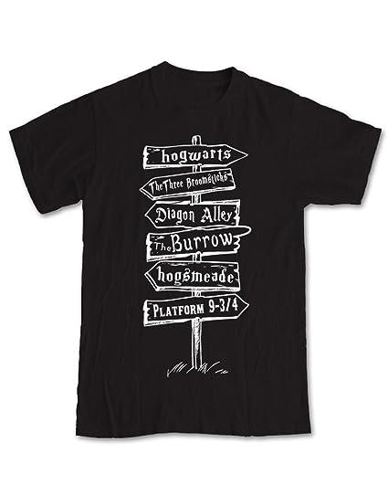 Camiseta de Harry Potter, diseño de poste de direcciones negro negro X-Large: Amazon.es: Hogar