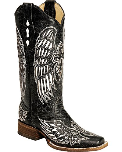 CORRAL Women's Distressed With White Cross and Wing Inlay Cowgirl Boot Square Black 8.5 M US (White Cross Boots)