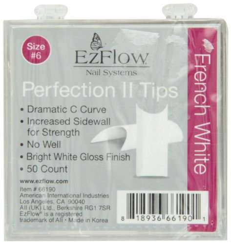 EZ Flow Perfection Ii Tips, French White No.6, 50 ()