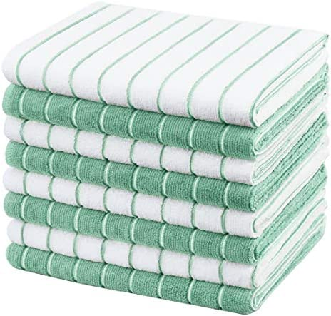 Gryeer Microfiber Dish Towels Stripe Designed Soft Super Absorbent And Lint Free Kitchen Towels 26 X 18 Inch Green Grymsktz008lvs Buy Online At Best Price In Uae Amazon Ae