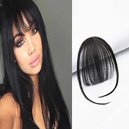 Hair Bangs Clip - HIKYUU Natural Black Bangs Clip in Remy Human Hair Bangs with Temples Bang Hairpiece Clip-on Front Fringes