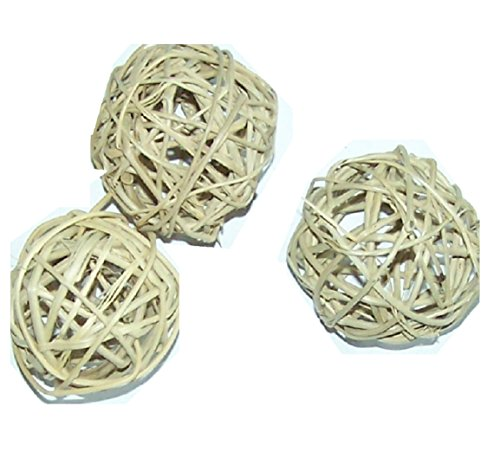 All Natural Vine Balls - Chew Toy For Rabbits, Guinea Pigs, Chinchillas, Birds, Gerbils, Hamsters, and Other Small Pets (Set of Three 2.5 Inch Wicker (Untreated Natural)