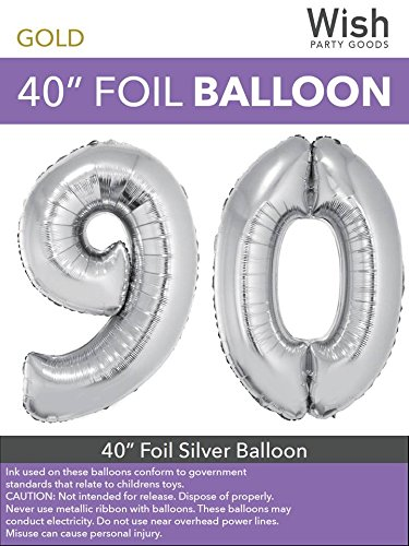 Wish Party Goods Extra Large Giant Jumbo 40 inch Silver Color High Quality Mylar Foil Number Balloons - Special Milestone Birthday/Anniversary/Wedding Party Event Decorations (90)