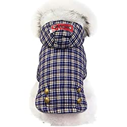 Loveso Fashion Plaid Pet Coat Winter Classic Hoodie Thicken Keep Warm Coat Cat Dog Clothing