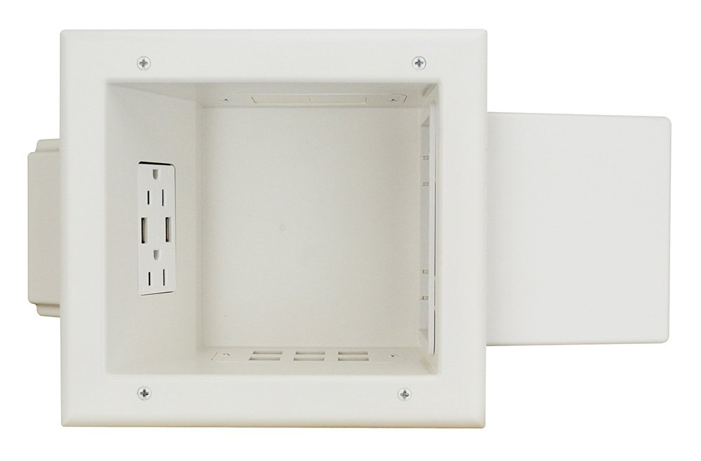 Datacomm Electronics 45-0251-WH In-Wall, Recessed Expandable Media Box with 4.0 Dual USB Ports, White