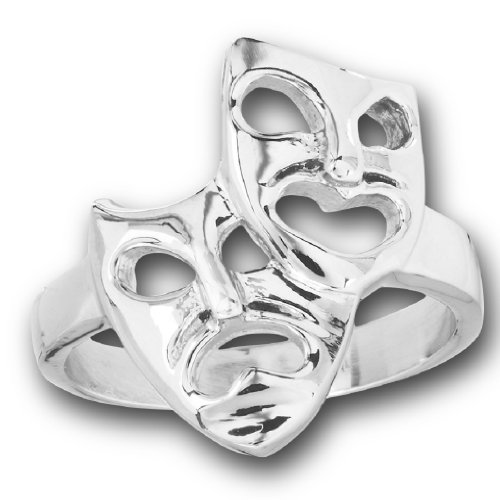 Doublebeez Jewelry 316L Stainless Steel Theater Comedy Drama Mask Ring, Size (Drama Theater Masks)