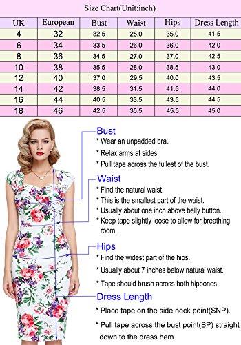 et Rtro GF158 Bateau Manche bp117 Courte Poque Belle Genou Vintage Crayon Floral Col Robe 4 au Femme qvnw4xOR5