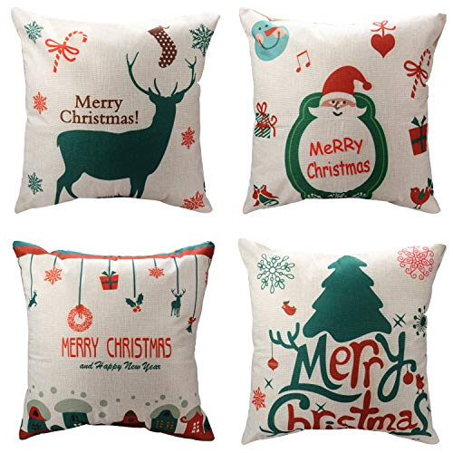Price comparison product image WEYON Merry Christmas Cotton Linen Throw Pillow Covers 4 Pack Santa Trees/Gifts/Christmas Deer Throw Pillow Cases for Couch Sofa 18 x 18 Inch, Cotton Linen