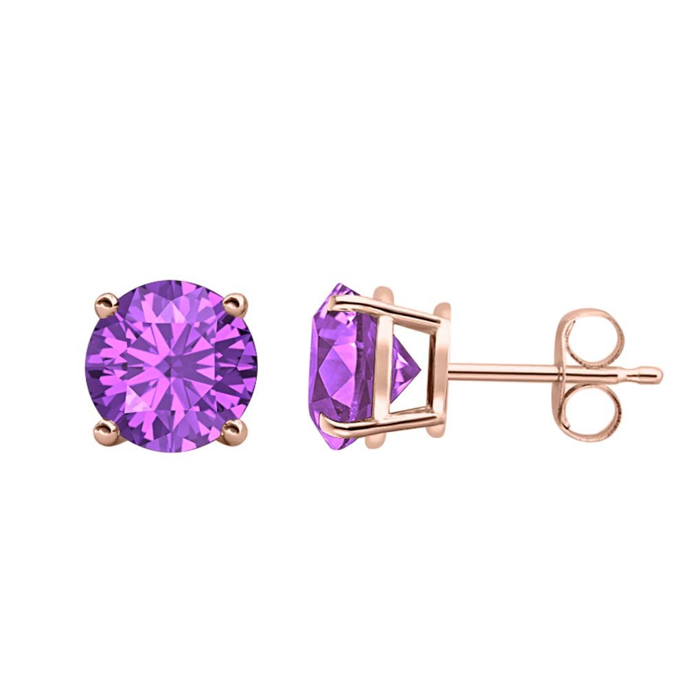 8MM Solitaire Stud Earrings 14K Rose Gold Over .925 Sterling Silver tusakha 4.00 CT Round Cut Amethyst
