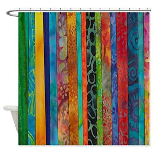 Zoeleng Boho Chic Shower Curtain Batik Stripes Jewel Tones Shower Curtain Red Blue Gold Green