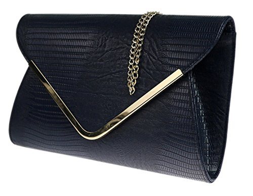 Metal Negro Azul del Tarde Sobre Girly HandBags Bolso Impreso Marrón Embrague Piso de Señoras Animal 6F1wqU