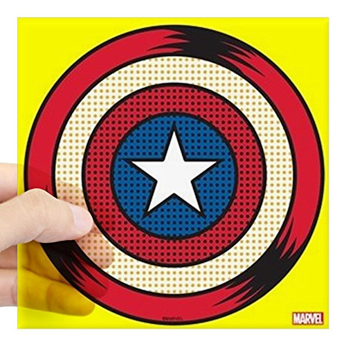 CafePress Captain America Comic Shiel Square Sticker 3 X 3 Square Bumper Sticker Car Decal, 3