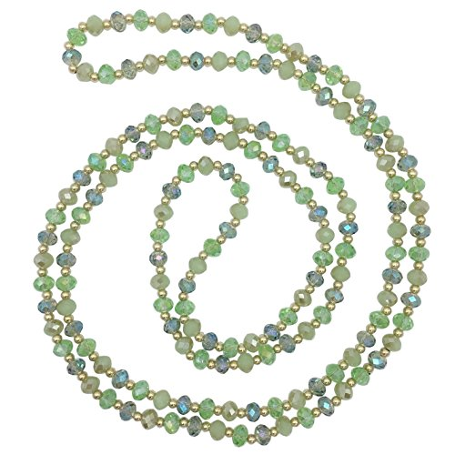 Crystal Bead Necklace (Long All Glass Beveled Beaded Simple Necklace (Green)