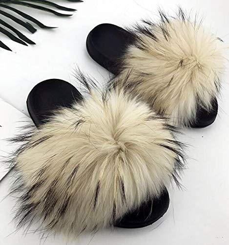 Fox Slides Furry Fuffly Slippers Flip Flops Sandals Sliders Eva Bottom Summer Shoes Women Raccoon D EVA 10.5]()