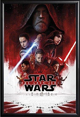 Star Wars The Last Jedi Poster Framed Basic Black Wood - Jedi Art