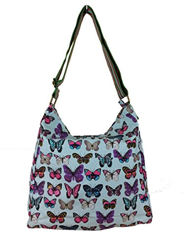 Ladies BUTTERFLY LIGHT Canvas Owl BLUE Bag Messenger Bag Cross Body Tree Designer qwtC7nxCF