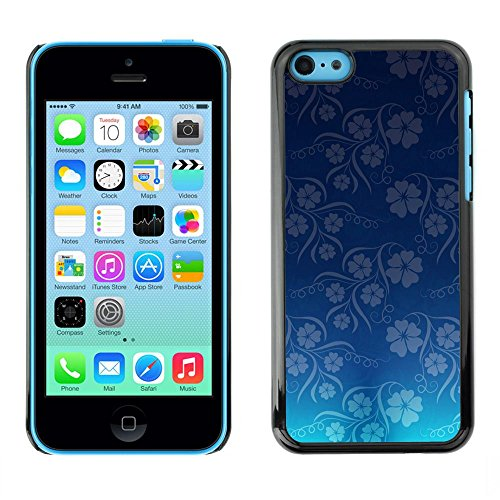 TopCaseStore / caoutchouc Hard Case Housse de protection la Peau - Wallpaper Blue Flowers Floral Pattern - Apple iPhone 5C
