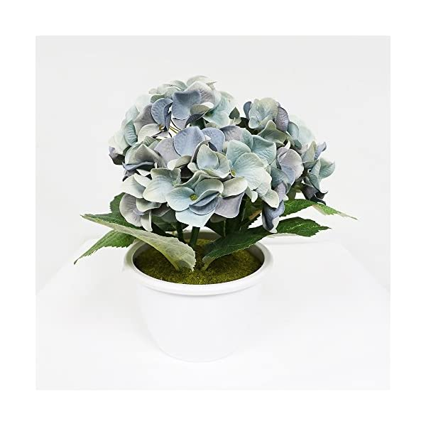 Puleo International 10 inch Artificial Potted Blue Hydrangea Cluster with Green Leaves