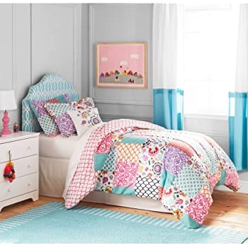 Better homes and gardens kids boho patchwork bedding comforter set twin home kitchen for Better homes and gardens bed in a bag