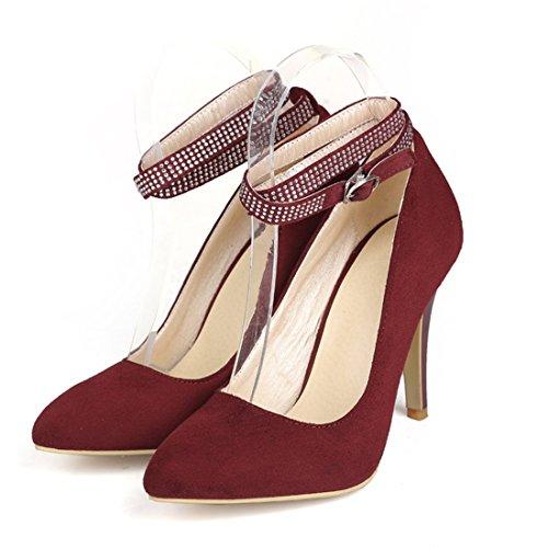 Scarpe Da Scarpe Di Sandalette Dimensioni Europea Solo Punta Signore Grandi Red Americana Sharp Donna A E Tacchi Spillo Fibbie dede 180qw8T