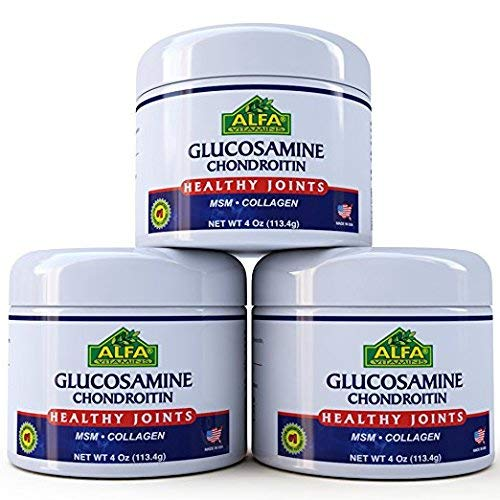 ALFA VITAMINS Glucosamine Chondroitin 4 Oz Cream With MSM Collagen Natural  Cream For Men Women Soothe Joint Bone Muscle Pains Improve Mobility Relieve