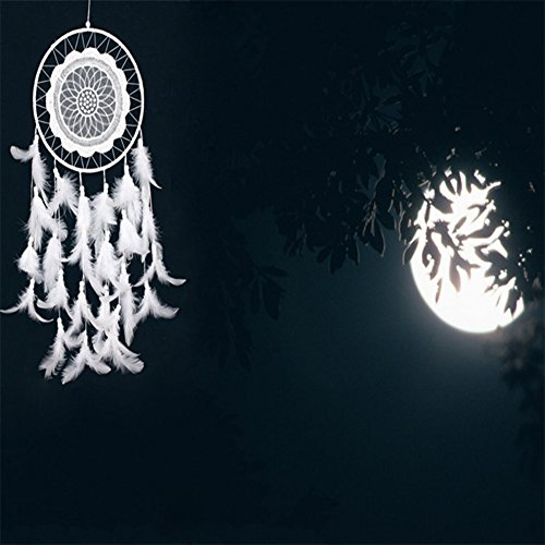 Per Handmade White Lace Dream Catchers Wind Chimes Dreamcatcher Net Hanging Decoration Ornament For Bedroom /Home Decor /Wedding(Diameter 7.87 in)-B