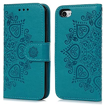 Funda iPhone 7, Carcasa Libro de Cuero Impresión de Flor PU Premium y TPU Funda Interna (2 en 1, Separable), Wallet Case Cover con Soporte Plegable, ...