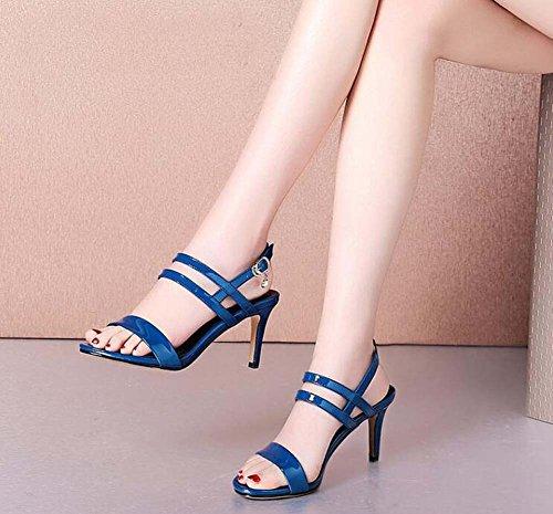 con tacón Azul Open alto de hebilla Zapatos New de toed mujer SHINIK Strap cuero Thin Summer Zapatos sandalias 0Un8q