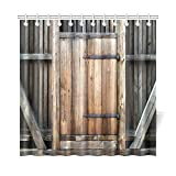 InterestPrint Farmhouse Brown Bathroom Curtains, Rustic Antique Wooden Door Exterior Facade Rural Barn Timber Weathered Lodge Mildew Resistant Machine Washable Shower Curtain 72 X 72 Inches Wood Brown
