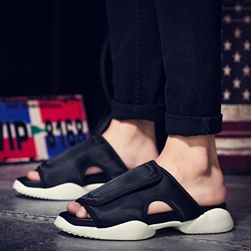 Xing Lin Sandalias De Hombre Verano Sandalias De Herradura Hombres Tendencia Zapatillas Zapatillas Zapatos Calzado De Playa Black and white