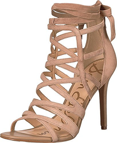 Edelman Sam Women's Kid Leather Sandals Suede Oatmeal Alba gxx68nd