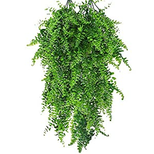 Boston Fern Artificial Plants Fake Vine Hanging Ivy Artificial Ivy Garland Artificial Greenery Leaves for Wedding Party Garden Wall Decoration 2 Pcs 50