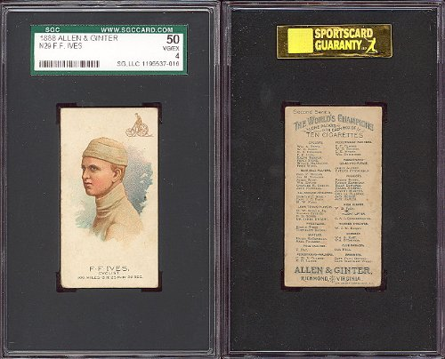 1888 Allen & Ginter Regular (Miscellaneous) Card# 4 F.F. Ives sgc VGX Condition by Topps