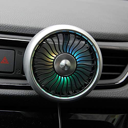 Car Air Vent USB Fans Auto Cooling Fan with Colorful Light Suction Cup Car USB Fan-Silver