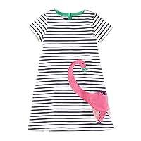 Little Girls Crewneck Cotton T-shirt Dresses Animal Applique Dress Short Sleeve Size 18M-6T