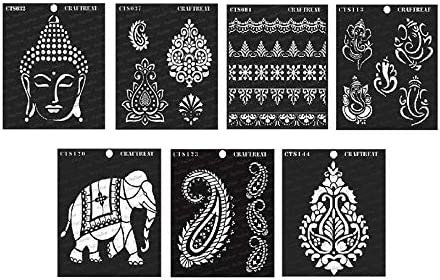 Scrapbook and Printing on Paper Musical Ganesha 2 Fabric Crafting Wood 6x6 inches DIY Albums Wall Home Decor Notebook Tile Floor Reusable Painting Template for Journal CrafTreat Stencil