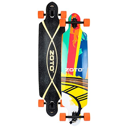 ZOTO 41 Inch Complete Downhill Longboard,High Speed Freestyle Cruiser Drop Through Skateboards,Super Security Bamboo Deck Long Longboards for Girle/Boy/Kid/Beginners