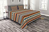 Lunarable Aztec Bedspread Set King Size, Ethnic Latin American Pattern with Aztec Motifs Hippie Colors Horizontal Borders, Decorative Quilted 3 Piece Coverlet Set with 2 Pillow Shams, Multicolor