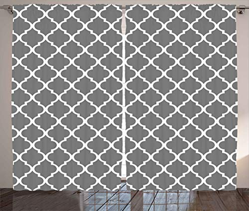 """Ambesonne Grey Curtains, Quatrefoil Pattern Barbed Design Geometric Leaf Print Lattice Country Life Inspired, Living Room Bedroom Window Drapes 2 Panel Set, 108"""" X 84"""", Gray White"""