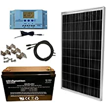 WindyNation 100 Watt Solar Panel Complete Off-Grid RV Boat Kit with P30L LCD PWM Charge Controller, Solar Cable, MC4 Connectors, Mounting Brackets + 100Ah AGM Deep Cycle Battery