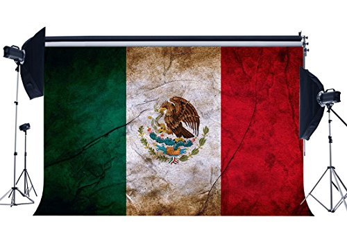 (Gladbuy Vinyl 7X5FT Mexican Flag Backdrop Mexico Backdrops Shabby Eagle Photography Background for Person Wishing Independence and Hope Peace Religion National Unity Photo Studio Props KX569)
