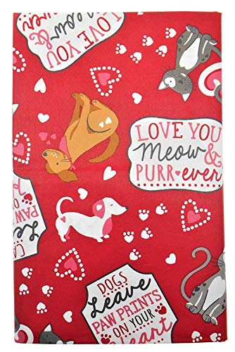 Vinyl Tablecloth Pet Lover's Valentine's Day with Flannel Backing - Dogs and Cats with Hearts and Sayings on Red Background (60