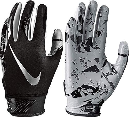 (Boy's Nike Vapor Jet 5.0 Football Glove Black/Chrome Size Large)