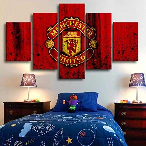 lzmlzm 5 Canvas Paintings Creative 5 Pieces Manchester United Flag Sports Wall Posters Football Canvas Paintings Art Prints Pictures Boys Bedroom Decor
