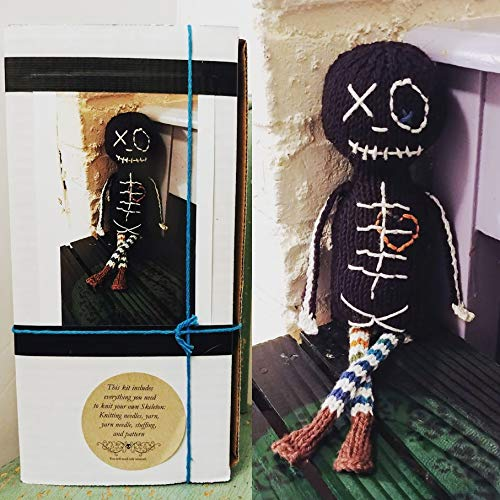 Knit your own Jasper the Skeleton Kit DIY with pattern knitting needles, yarn, stuffing. Easy unique geek knitter gift, do it yourself craft -